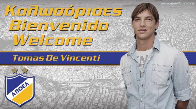 O site do APOEL Nicosia anunciou oficialmente a contratação de De Vincenti. (Fonte: Apoel)