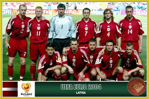 Será que eles ainda jogam. (Em pé:) Stepanovs,  Prohorenkovs, Kolinko, Isakovs, Zemļinskis, Lobanovs, (agachados:) Bleidelis, Blagonadeždins,  Verpakovskis , Astafjevs e Rubins.
